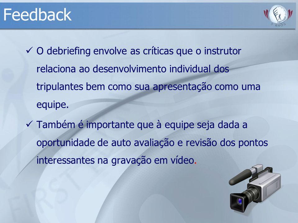 Feedback O debriefing envolve as críticas que o instrutor relaciona ao desenvolvimento individual dos tripulantes bem como sua apresentação como uma e