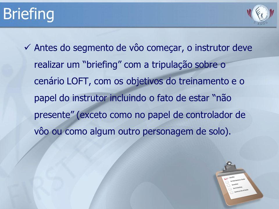 Briefing Antes do segmento de vôo começar, o instrutor deve realizar um briefing com a tripulação sobre o cenário LOFT, com os objetivos do treinament