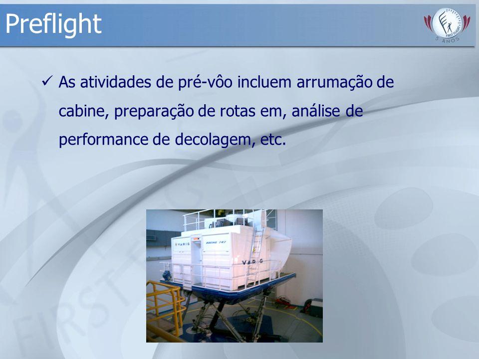 Preflight As atividades de pré-vôo incluem arrumação de cabine, preparação de rotas em, análise de performance de decolagem, etc.