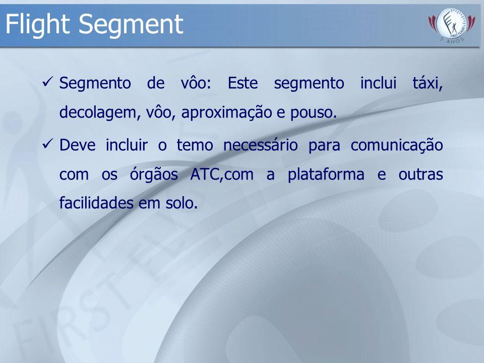 Flight Segment Segmento de vôo: Este segmento inclui táxi, decolagem, vôo, aproximação e pouso. Deve incluir o temo necessário para comunicação com os