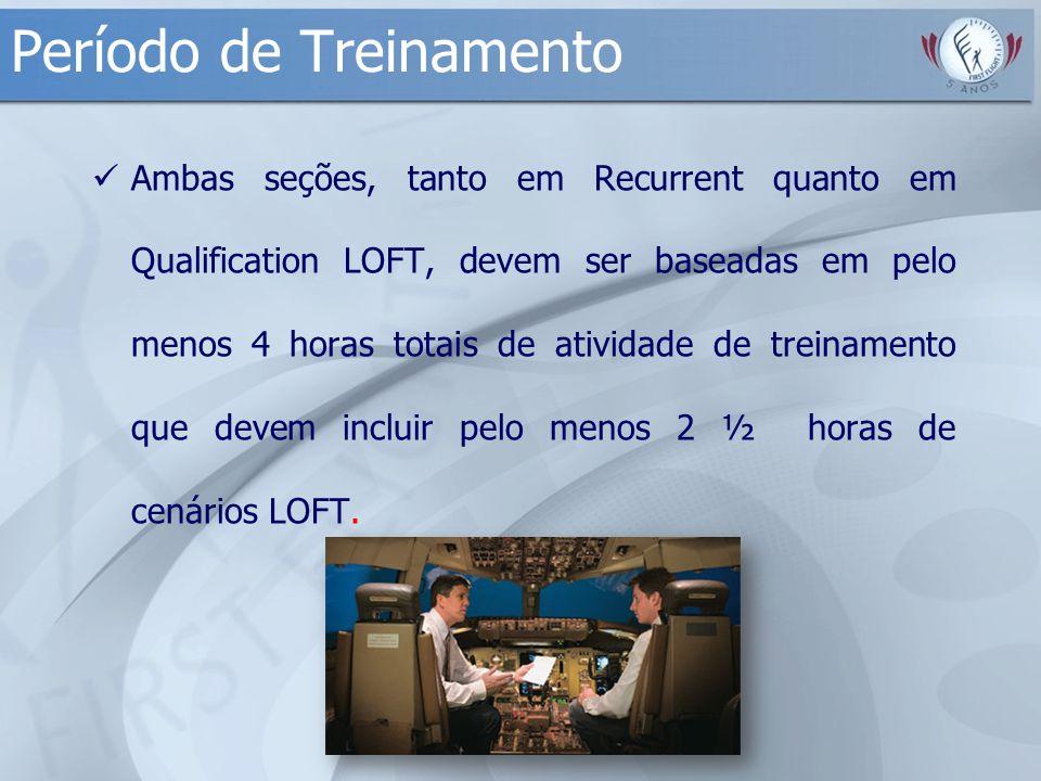 Período de Treinamento Ambas seções, tanto em Recurrent quanto em Qualification LOFT, devem ser baseadas em pelo menos 4 horas totais de atividade de