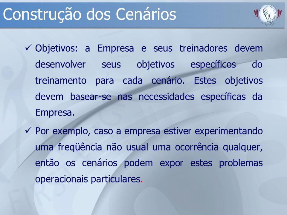 Construção dos Cenários Objetivos: a Empresa e seus treinadores devem desenvolver seus objetivos específicos do treinamento para cada cenário. Estes o