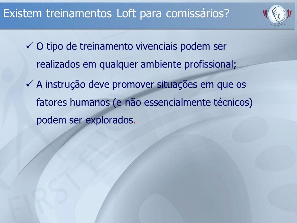 Existem treinamentos Loft para comissários? O tipo de treinamento vivenciais podem ser realizados em qualquer ambiente profissional; A instrução deve