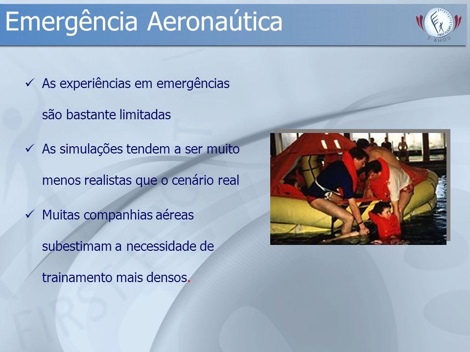 Emergência Aeronaútica As experiências em emergências são bastante limitadas As simulações tendem a ser muito menos realistas que o cenário real Muita