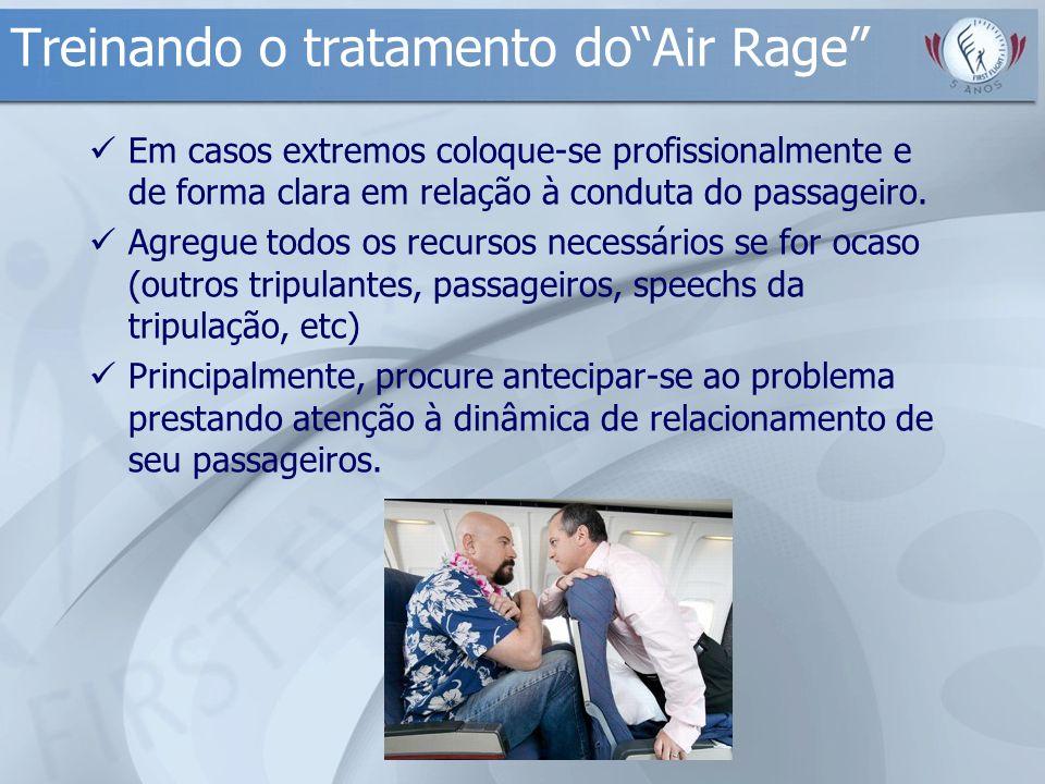 Treinando o tratamento doAir Rage Em casos extremos coloque-se profissionalmente e de forma clara em relação à conduta do passageiro. Agregue todos os