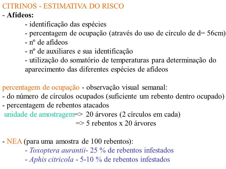 CITRINOS - ESTIMATIVA DO RISCO - Ácaro vermelho dos citrinos (Panonycus citri (Mc Gregor) - percentagem de ocupação e nº de formas móveis/folha - obse