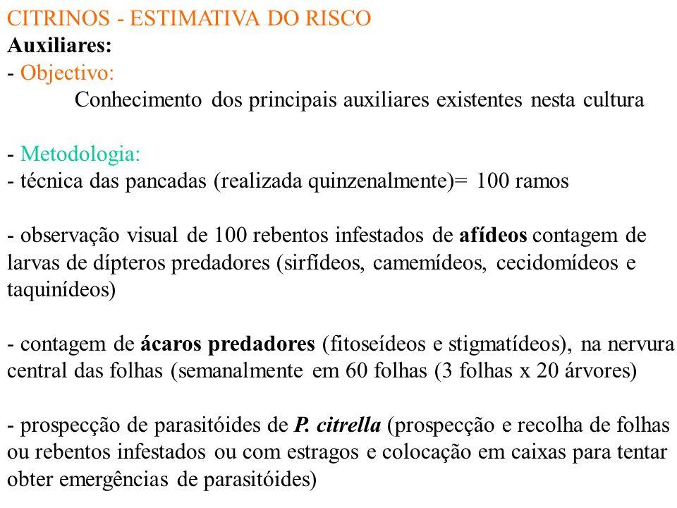 CITRINOS - ESTIMATIVA DO RISCO Míldio ou aguado (Phytophtora spp.): - Objectivo: Estabelecer uma relação entre os níveis de inócuo de Phytophtora no s