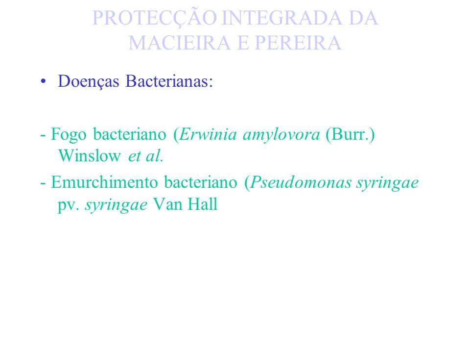DOENÇAS: - Pedrado (Venturia inadequalis e V. pirina Aderh.) - Oídio (Oidium farinosum Cooke) - Septoriose da macieira (Septoria piricola Dem.) - Canc