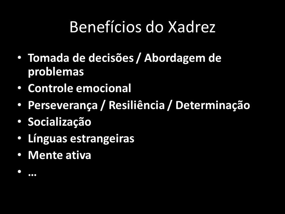 Benefícios do Xadrez Tomada de decisões / Abordagem de problemas Controle emocional Perseverança / Resiliência / Determinação Socialização Línguas estrangeiras Mente ativa …