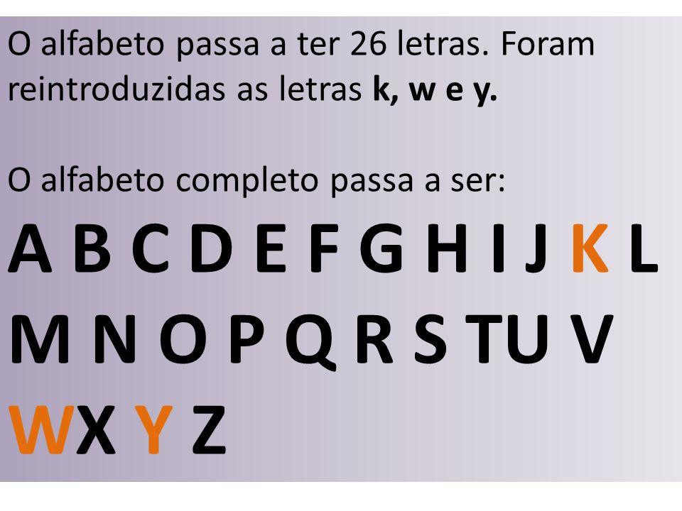 O alfabeto passa a ter 26 letras. Foram reintroduzidas as letras k, w e y. O alfabeto completo passa a ser: A B C D E F G H I J K L M N O P Q R S TU V
