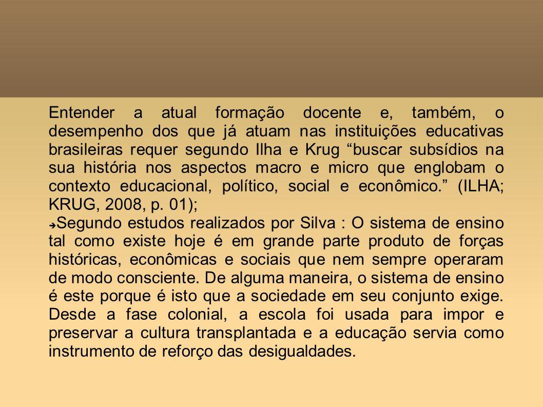 Entender a atual formação docente e, também, o desempenho dos que já atuam nas instituições educativas brasileiras requer segundo Ilha e Krug buscar s