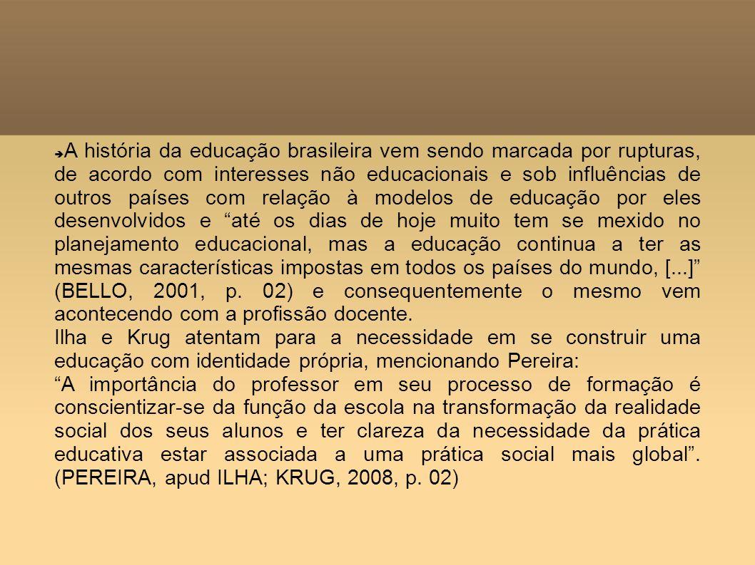 A história da educação brasileira vem sendo marcada por rupturas, de acordo com interesses não educacionais e sob influências de outros países com rel