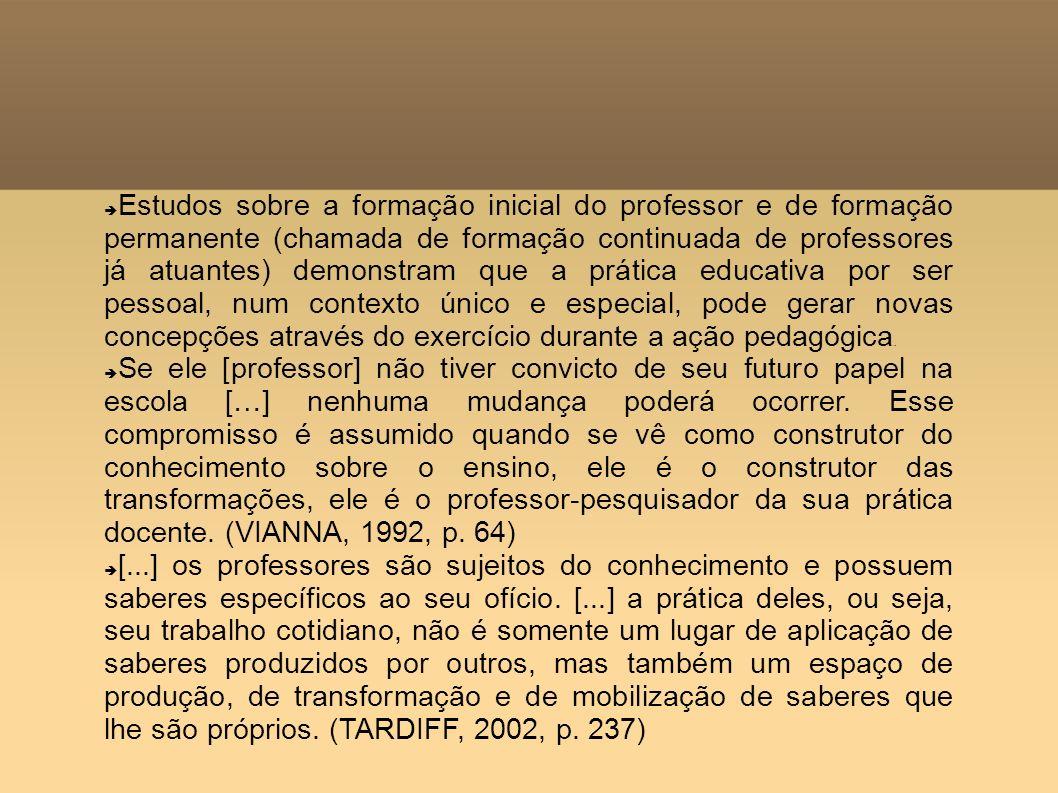 Estudos sobre a formação inicial do professor e de formação permanente (chamada de formação continuada de professores já atuantes) demonstram que a pr