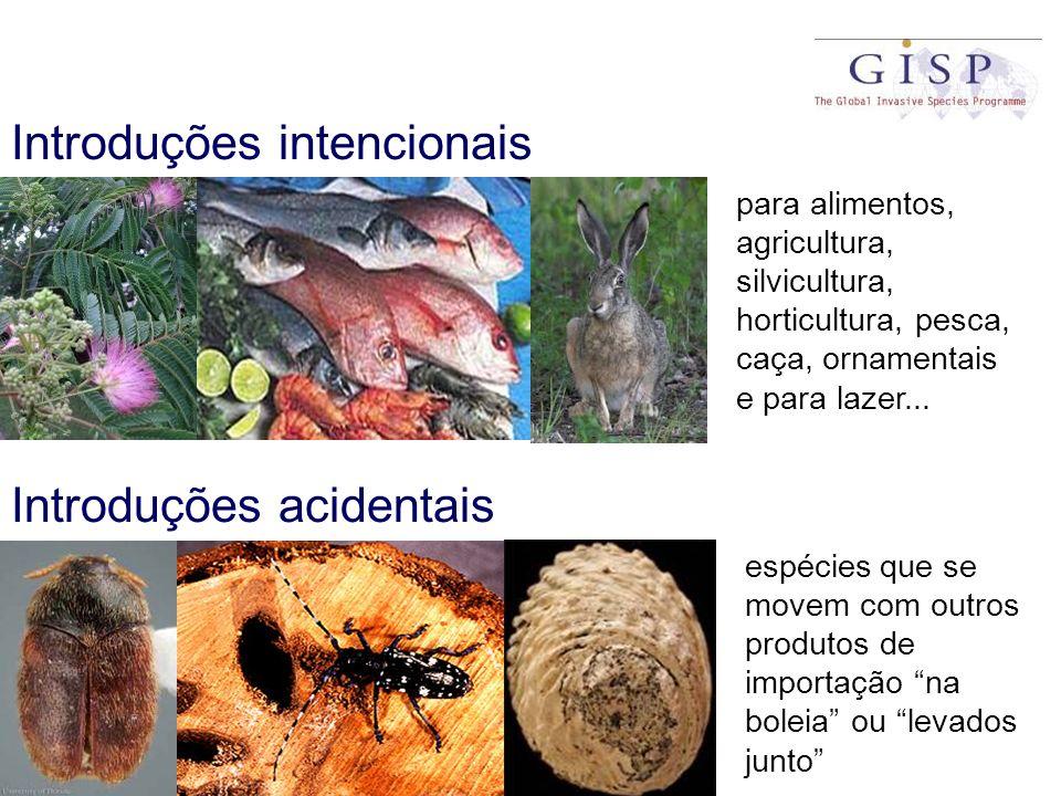Introduções intencionais Introduções acidentais para alimentos, agricultura, silvicultura, horticultura, pesca, caça, ornamentais e para lazer... espé