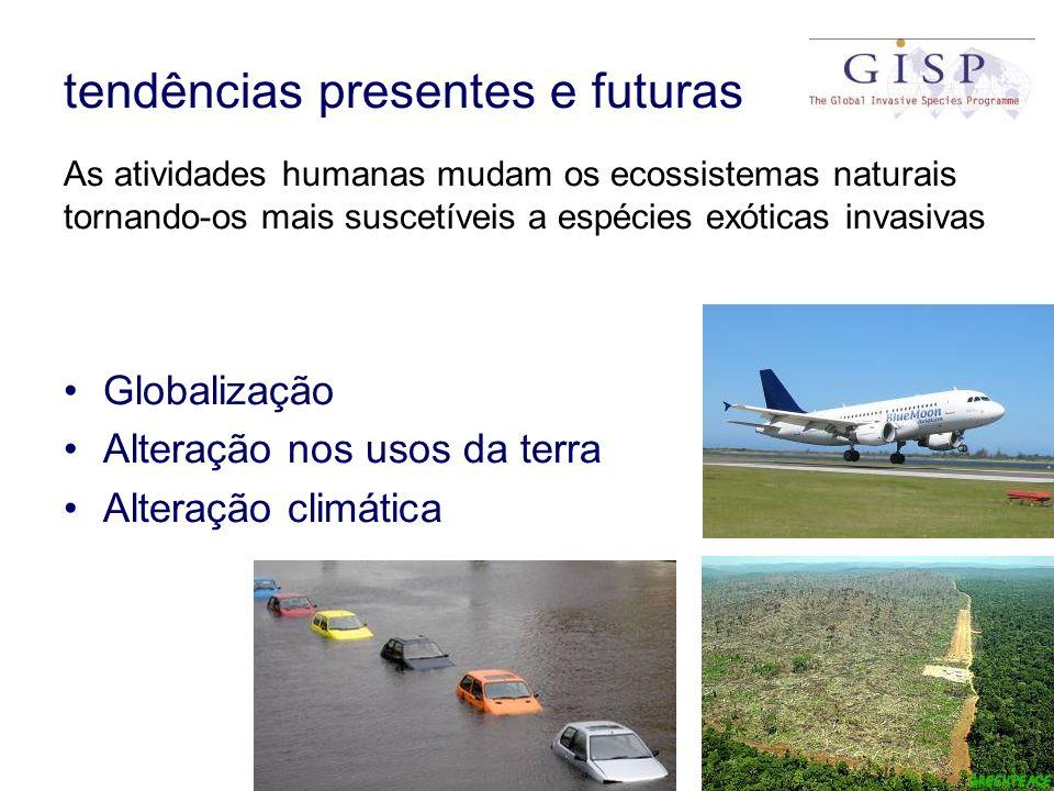 tendências presentes e futuras As atividades humanas mudam os ecossistemas naturais tornando-os mais suscetíveis a espécies exóticas invasivas Globali