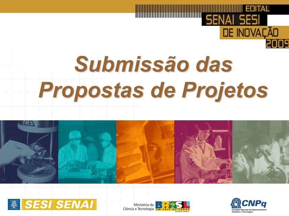 Submissão das Propostas de Projetos
