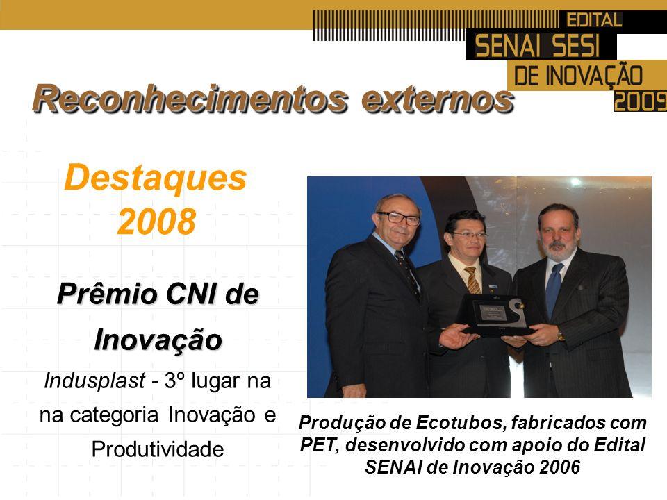 Destaques 2008 Prêmio CNI de Inovação Indusplast - 3º lugar na na categoria Inovação e Produtividade Produção de Ecotubos, fabricados com PET, desenvolvido com apoio do Edital SENAI de Inovação 2006 Reconhecimentos externos