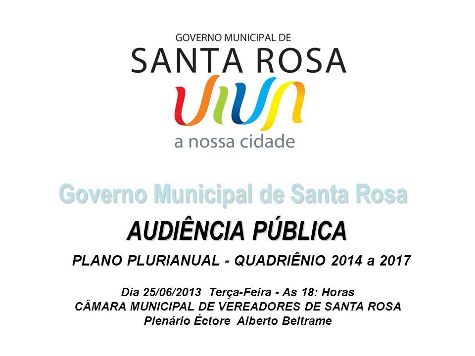 Governo Municipal de Santa Rosa Dia 25/06/2013 Terça-Feira - As 18: Horas CÂMARA MUNICIPAL DE VEREADORES DE SANTA ROSA Plenário Éctore Alberto Beltram