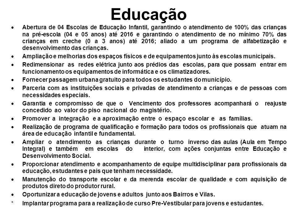 Educação Abertura de 04 Escolas de Educação Infantil, garantindo o atendimento de 100% das crianças na pré-escola (04 e 05 anos) até 2016 e garantindo o atendimento de no mínimo 70% das crianças em creche (0 a 3 anos) até 2016; aliado a um programa de alfabetização e desenvolvimento das crianças.