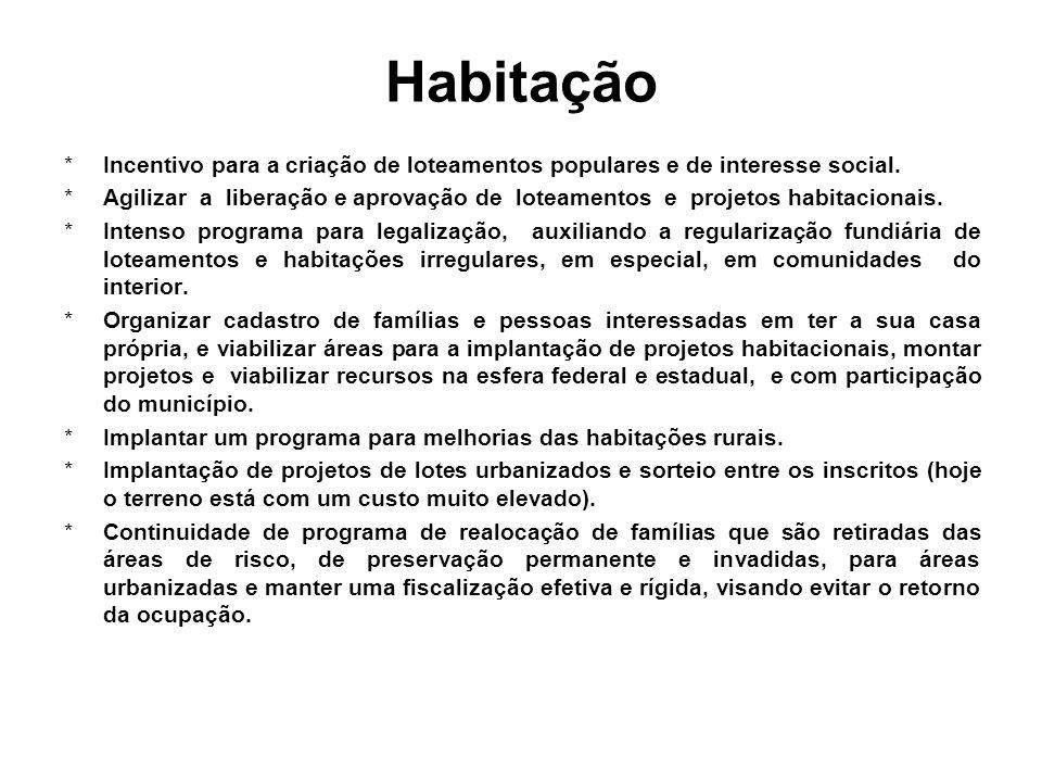 Habitação *Incentivo para a criação de loteamentos populares e de interesse social.