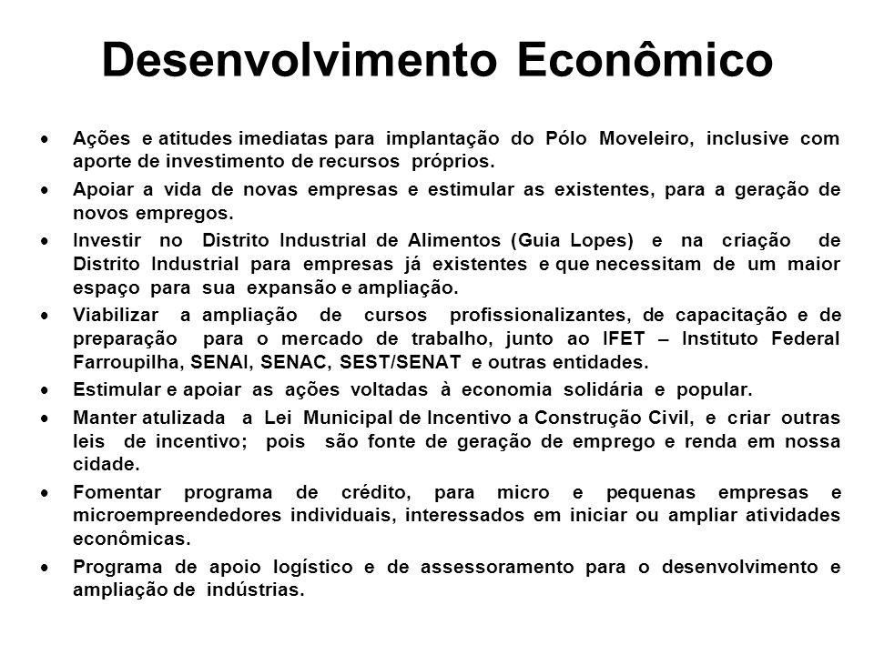 Desenvolvimento Econômico Ações e atitudes imediatas para implantação do Pólo Moveleiro, inclusive com aporte de investimento de recursos próprios.