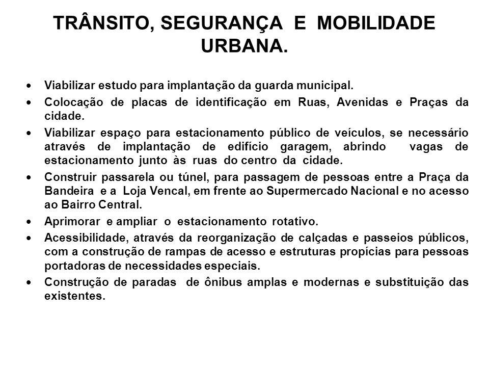 TRÂNSITO, SEGURANÇA E MOBILIDADE URBANA.Viabilizar estudo para implantação da guarda municipal.