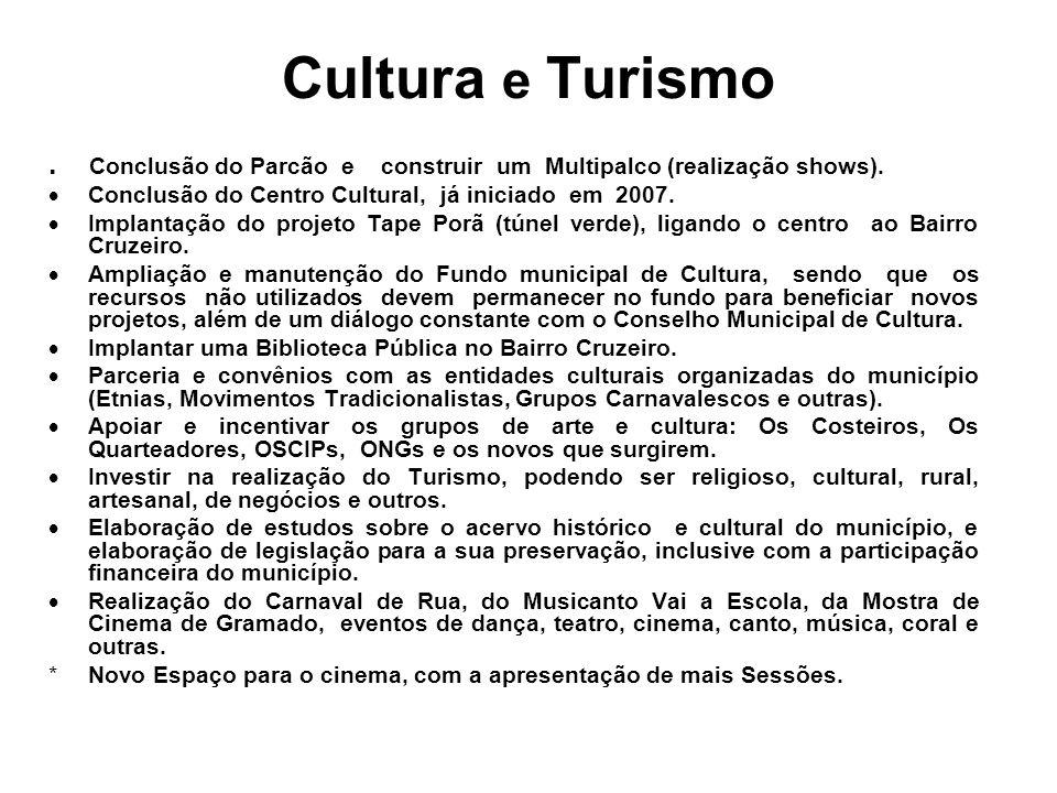 Conclusão do Parcão e construir um Multipalco (realização shows).