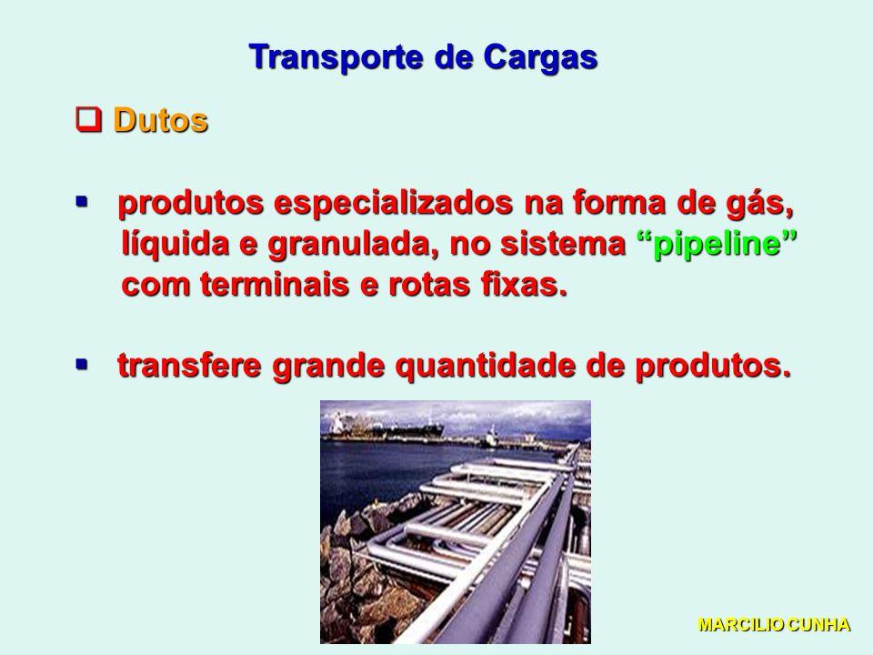 Transporte de Cargas Dutos Dutos produtos especializados na forma de gás, produtos especializados na forma de gás, líquida e granulada, no sistema pipeline líquida e granulada, no sistema pipeline com terminais e rotas fixas.