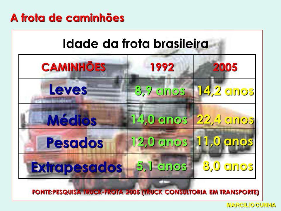 A frota de caminhões CAMINHÕES19922005 Leves Médios Pesados Extrapesados 14,2 anos 22,4 anos 11,0 anos 8,0 anos 8,9 anos 14,0 anos 12,0 anos 5,1 anos Idade da frota brasileira FONTE:PESQUISA TRUCK-FROTA 2005 (TRUCK CONSULTORIA EM TRANSPORTE) MARCILIO CUNHA