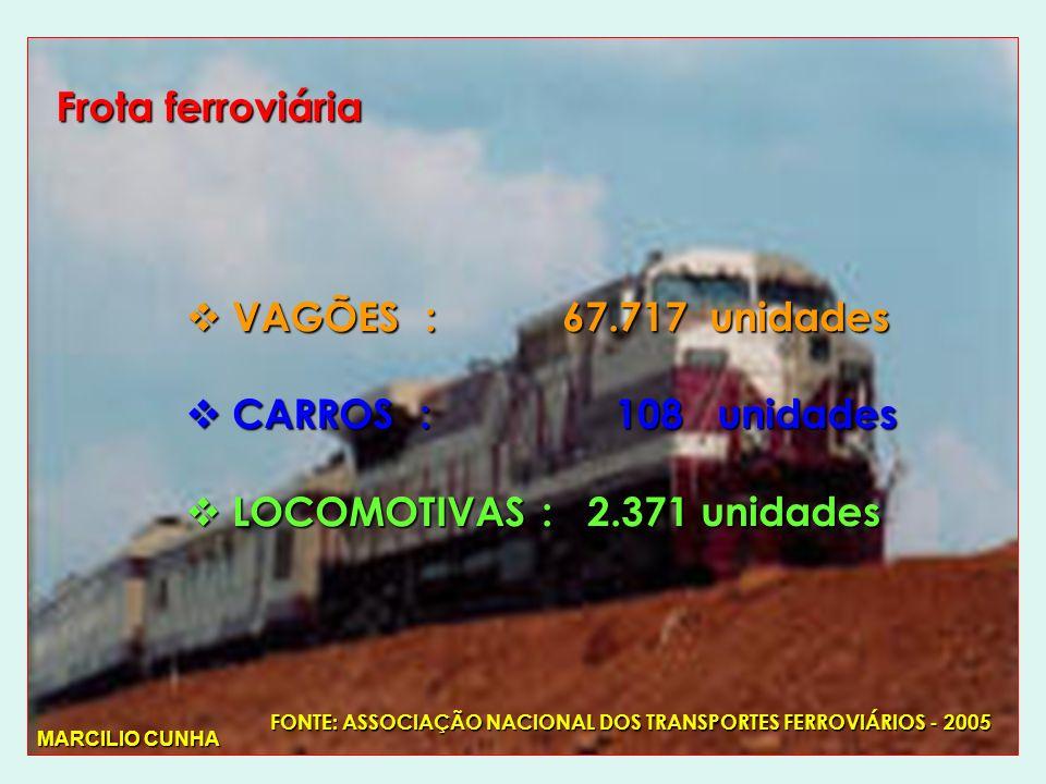 Frota ferroviária VAGÕES : 67.717 unidades VAGÕES : 67.717 unidades CARROS : 108 unidades CARROS : 108 unidades LOCOMOTIVAS : 2.371 unidades LOCOMOTIVAS : 2.371 unidades FONTE: ASSOCIAÇÃO NACIONAL DOS TRANSPORTES FERROVIÁRIOS - 2005 MARCILIO CUNHA