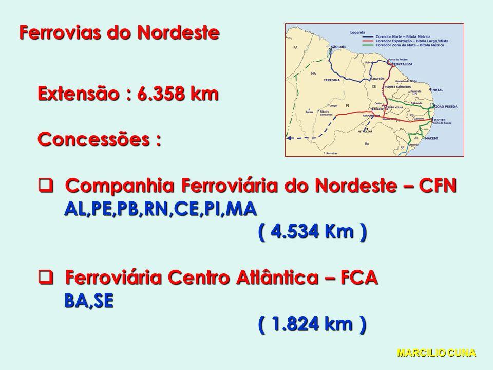 Ferrovias do Nordeste Extensão : 6.358 km Concessões : Companhia Ferroviária do Nordeste – CFN Companhia Ferroviária do Nordeste – CFN AL,PE,PB,RN,CE,PI,MA AL,PE,PB,RN,CE,PI,MA ( 4.534 Km ) ( 4.534 Km ) Ferroviária Centro Atlântica – FCA Ferroviária Centro Atlântica – FCA BA,SE BA,SE ( 1.824 km ) ( 1.824 km ) MARCILIO CUNA