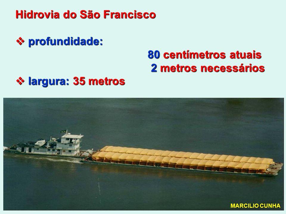 Hidrovia do São Francisco profundidade: profundidade: 80 centímetros atuais 80 centímetros atuais 2 metros necessários 2 metros necessários largura: 35 metros largura: 35 metros MARCILIO CUNHA