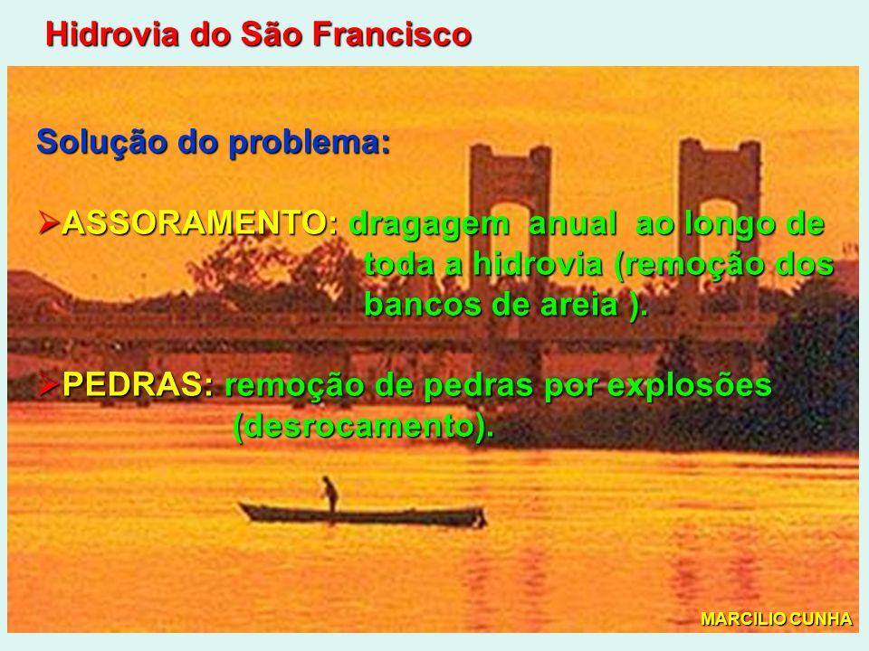 Hidrovia do São Francisco Solução do problema: ASSORAMENTO: dragagem anual ao longo de ASSORAMENTO: dragagem anual ao longo de toda a hidrovia (remoção dos toda a hidrovia (remoção dos bancos de areia ).