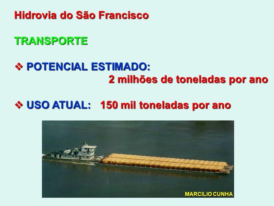 Hidrovia do São Francisco TRANSPORTE POTENCIAL ESTIMADO: POTENCIAL ESTIMADO: 2 milhões de toneladas por ano 2 milhões de toneladas por ano USO ATUAL: 150 mil toneladas por ano USO ATUAL: 150 mil toneladas por ano MARCILIO CUNHA