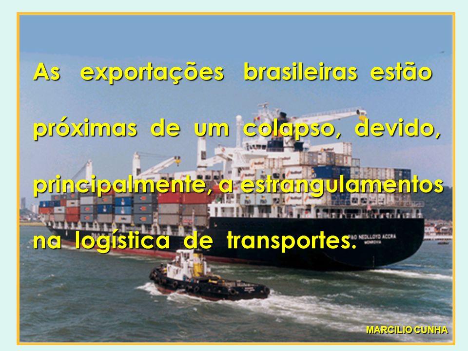 As exportações brasileiras estão próximas de um colapso, devido, principalmente, a estrangulamentos na logística de transportes.
