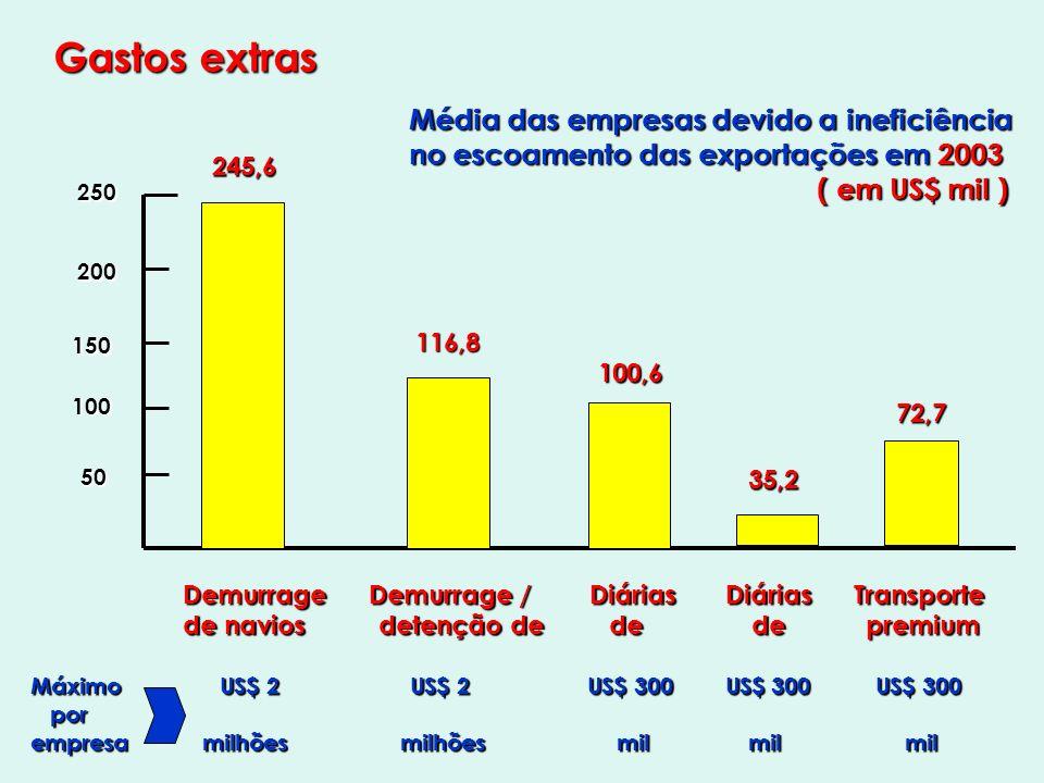 Gastos extras Demurrage Demurrage / Diárias Diárias Transporte Demurrage Demurrage / Diárias Diárias Transporte de navios detenção de de de premium de navios detenção de de de premium Máximo US$ 2 US$ 2 US$ 300 US$ 300 US$ 300 por por empresa milhões milhões mil mil mil 245,6 116,8 100,6 35,2 72,7 Média das empresas devido a ineficiência no escoamento das exportações em 2003 ( em US$ mil ) ( em US$ mil ) 250 200 150 100 50