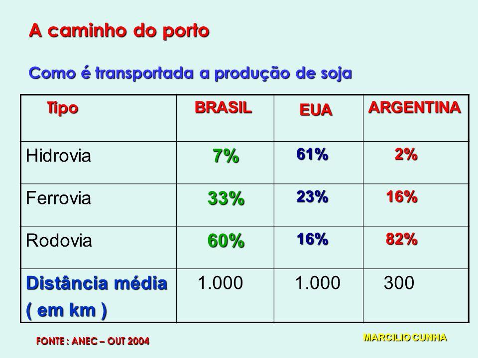 A caminho do porto Como é transportada a produção de soja BRASIL BRASIL EUA ARGENTINA Hidrovia 7% 7% 61% 61% 2% 2% Ferrovia 33% 33% 23% 23% 16% 16% Rodovia 60% 60% 16% 16% 82% 82% Distância média ( em km ) 1.000 300 Tipo FONTE : ANEC – OUT 2004 MARCILIO CUNHA