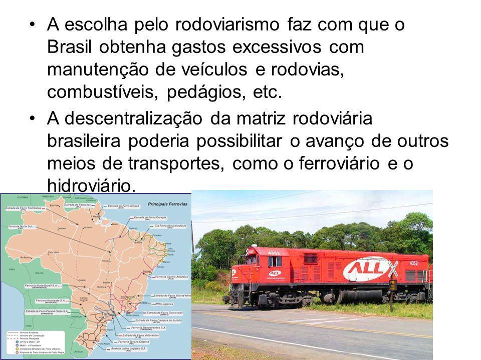 A escolha pelo rodoviarismo faz com que o Brasil obtenha gastos excessivos com manutenção de veículos e rodovias, combustíveis, pedágios, etc. A desce