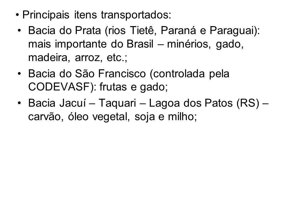 Principais itens transportados: Bacia do Prata (rios Tietê, Paraná e Paraguai): mais importante do Brasil – minérios, gado, madeira, arroz, etc.; Baci