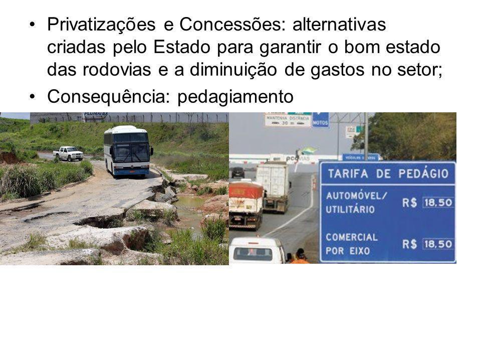 Privatizações e Concessões: alternativas criadas pelo Estado para garantir o bom estado das rodovias e a diminuição de gastos no setor; Consequência: