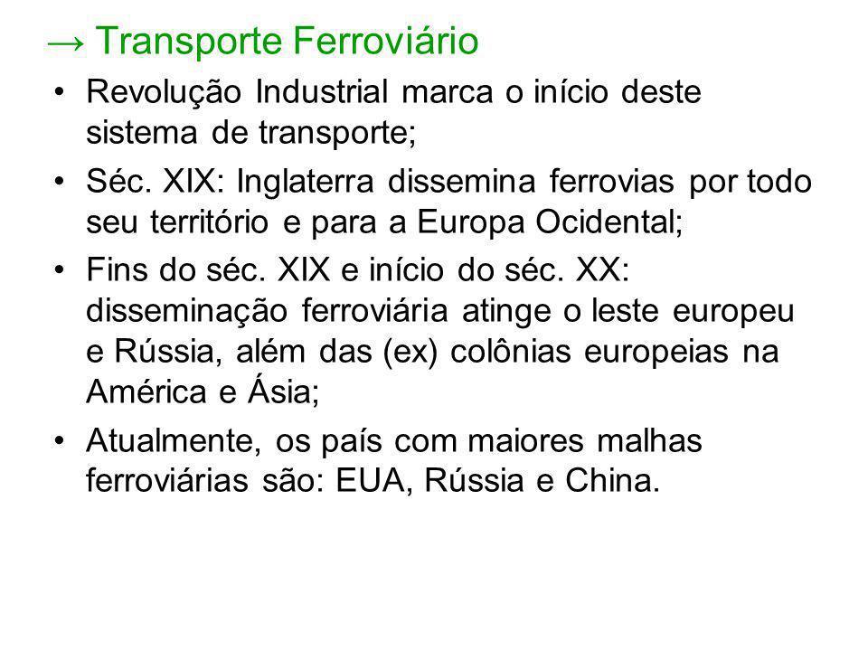 Brasil -Conta com apenas 29 mil km de linhas férreas (grande parte deteriorada); -Mesmo na região mais desenvolvida do país (Centro Sul), a densidade de ferrovias ainda é baixa; -Decadência inicia-se com o avanço da indústria automobilística e com a diminuição dos investimentos no setor; -Década de 1990: FEPASA e RFFSA foram privatizadas pela transnacional ALL – América Latina Logística; -Atualmente, é utilizado praticamente apenas para o transporte de cargas: (minérios e produtos agrícolas);
