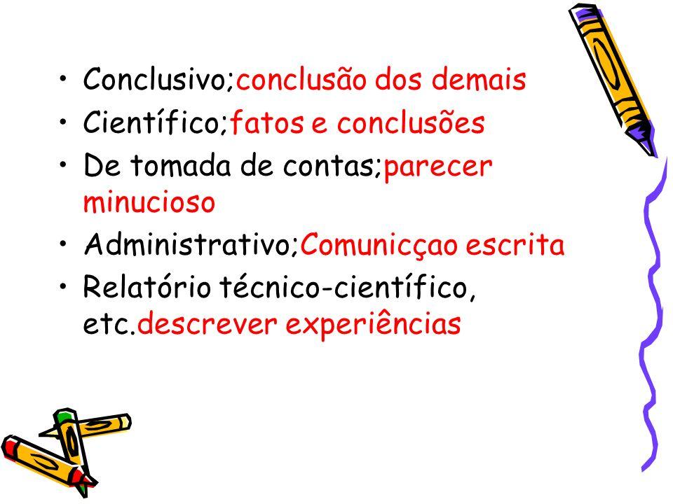 Conclusivo;conclusão dos demais Científico;fatos e conclusões De tomada de contas;parecer minucioso Administrativo;Comunicçao escrita Relatório técnic