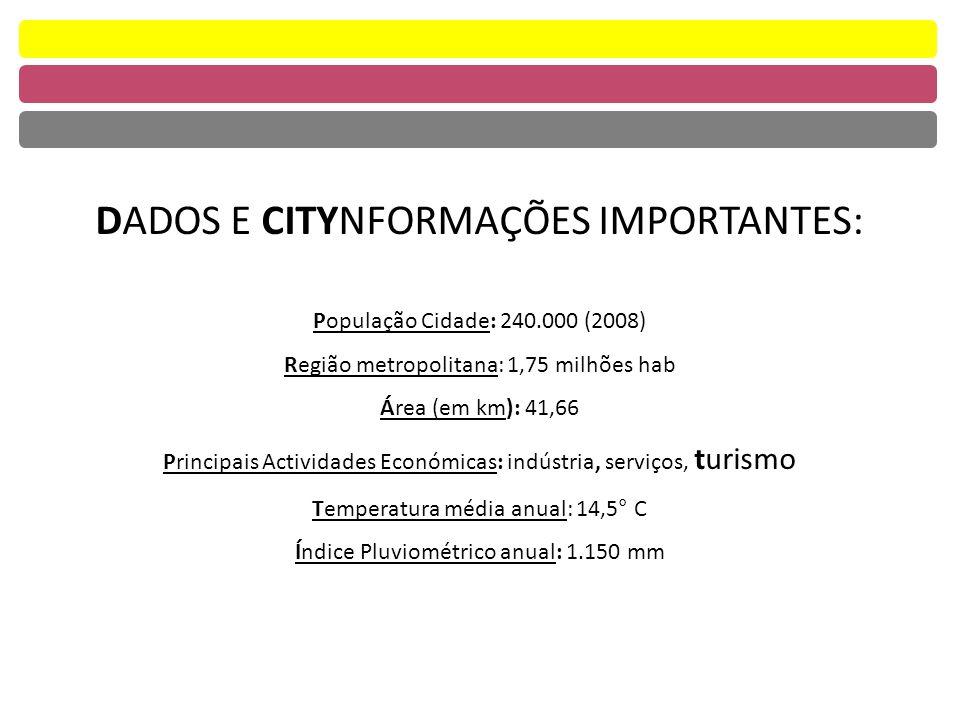 DADOS E CITYNFORMAÇÕES IMPORTANTES: População Cidade: 240.000 (2008) Região metropolitana: 1,75 milhões hab Área (em km): 41,66 Principais Actividades Económicas: indústria, serviços, turismo Temperatura média anual: 14,5° C Índice Pluviométrico anual: 1.150 mm