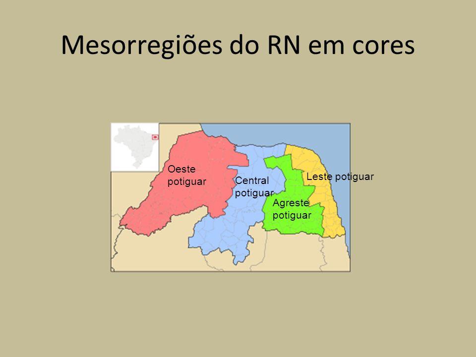 Mesorregiões do RN em cores Oeste potiguar Central potiguar Agreste potiguar Leste potiguar