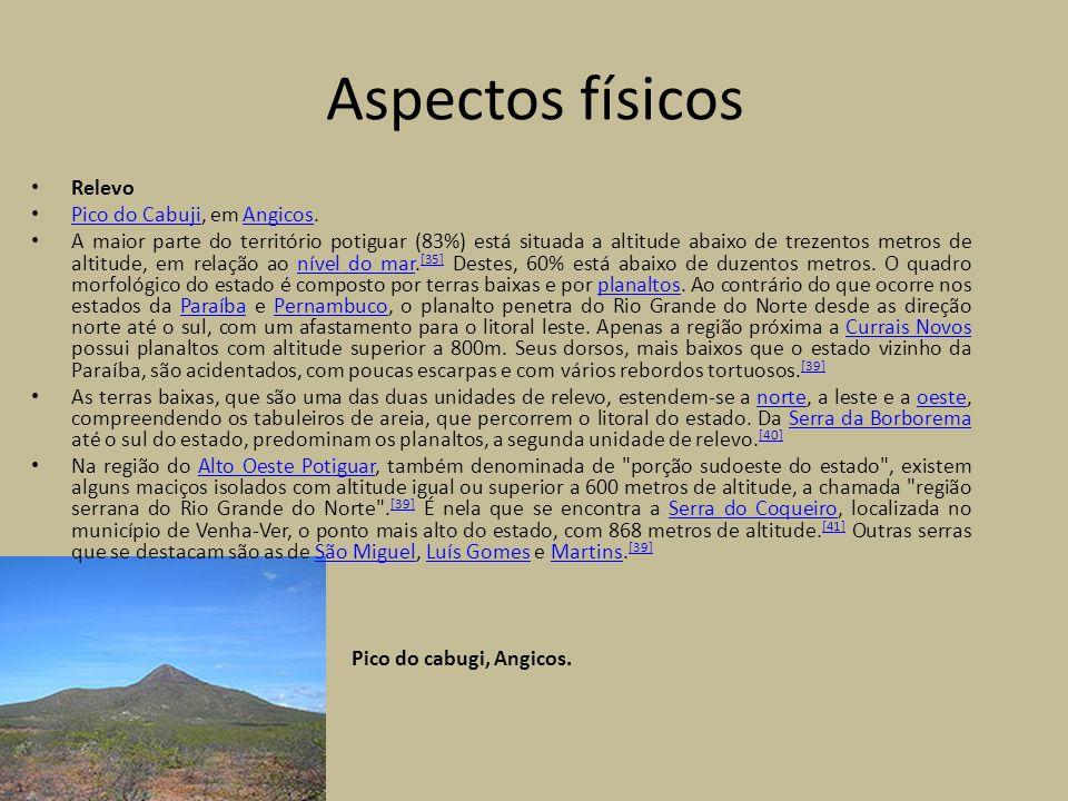 Relevo Pico do Cabuji, em Angicos. Pico do CabujiAngicos A maior parte do território potiguar (83%) está situada a altitude abaixo de trezentos metros