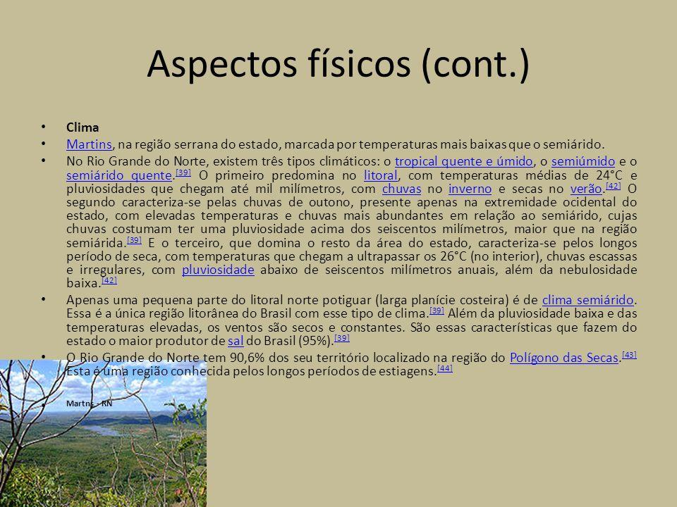 Aspectos físicos (cont.) Vegetação e hidrografia Vista parcial da Caatinga, vegetação predominante no estado.Caatinga O território norte-riograndense apresenta três tipos distintos de vegetação.