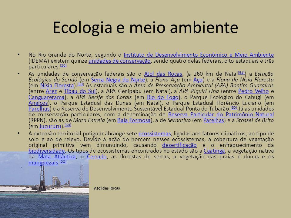 Ecologia e meio ambiente No Rio Grande do Norte, segundo o Instituto de Desenvolvimento Econômico e Meio Ambiente (IDEMA) existem quinze unidades de conservação, sendo quatro delas federais, oito estaduais e três particulares.