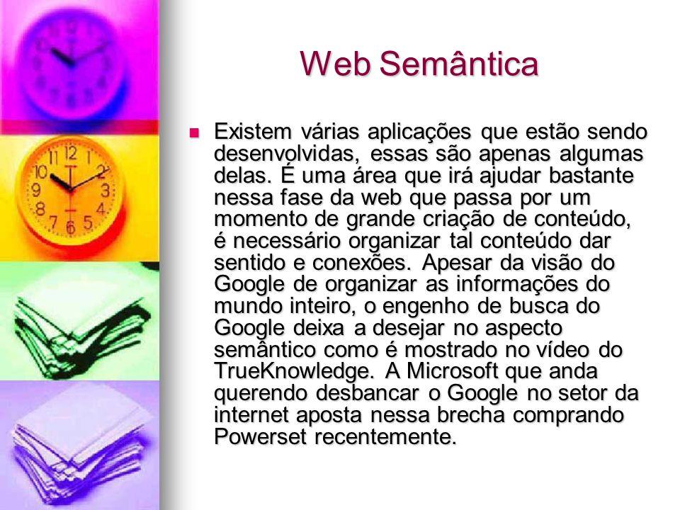 Web Semântica Existem várias aplicações que estão sendo desenvolvidas, essas são apenas algumas delas.