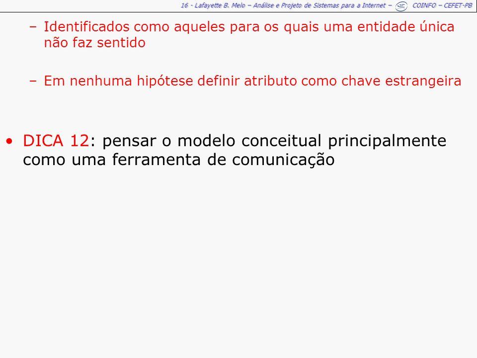 16 - Lafayette B. Melo – Análise e Projeto de Sistemas para a Internet – COINFO – CEFET-PB –Identificados como aqueles para os quais uma entidade únic