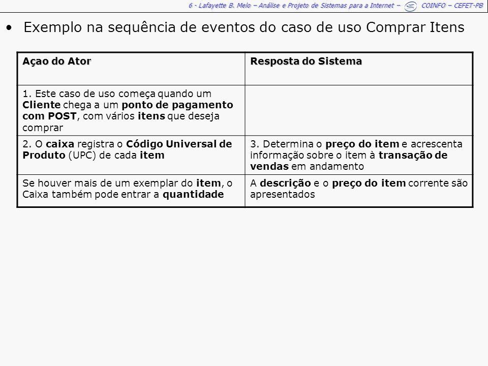 6 - Lafayette B. Melo – Análise e Projeto de Sistemas para a Internet – COINFO – CEFET-PB Exemplo na sequência de eventos do caso de uso Comprar Itens
